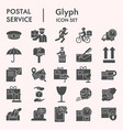 postal service solid icon set postage mail vector image vector image