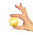 realistic 3d silhouette of hand with gold coin vector image