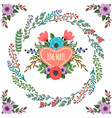 retro doodle floral template vector image vector image