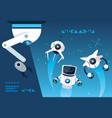 robot cartoon over blue background vector image vector image