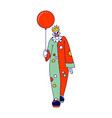 scary clown with balloon male animator wearing vector image