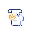 settings blueprint line icon engineering cogwheel vector image