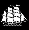 silhouette a sailing old ship sailboat logo vector image