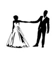 silhouettes of the bride and groom holding each vector image vector image