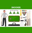 snooker billiards sport equipment pool player vector image