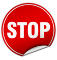 stop round red sticker isolated on white vector image vector image