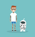 tattoo subculture human and robot fully covered vector image vector image