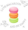 three realistic isolated sweet macaroon vector image
