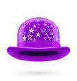 Violet starred bowler hat vector image