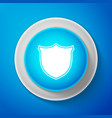 white shield icon on blue background guard sign vector image vector image
