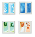 Window seasons vector image vector image