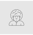 contour icon Man with curly hairstyle on her head vector image