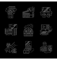 Detailed white line modern cinema icons set vector image