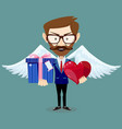 angel with gift for valentines day vector image