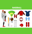 baseball sport equipment bat-and-ball game player vector image vector image