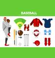 baseball sport equipment bat-and-ball game player vector image