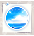 Blue sky and sea background or card art vector image