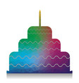 Cake with candle sign colorful icon with
