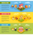 Carnival circus concept flat banners set vector image vector image