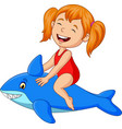 cartoon little girl riding inflatable shark vector image vector image