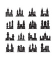 castle silhouettes medieval fortress ancient vector image