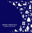 christmas congratulatory card on blue background vector image vector image