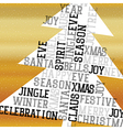 Christmas Tree Golden Greeting Card Happy Merry vector image