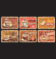 coffee house shop and roastery rusty metal plate vector image vector image