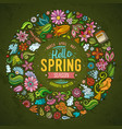 colorful hand drawn set spring cartoon vector image vector image