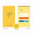 company bun splash screen and login page design vector image vector image