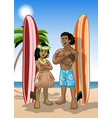 couple hawaiian surfer boy and girl vector image vector image