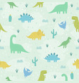 cute cartoon dinosaurs vector image vector image