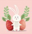 cute rabbit happy easter card vector image vector image