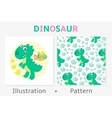 Dinosaur seamless pattern and vector image vector image