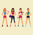 fitness womens cartoons vector image