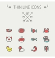 Food and drink thin line icon set vector image vector image