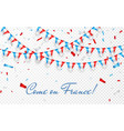 France flags garland white background
