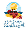 funny crab in sunglasses design for summer banner vector image vector image