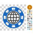 global casino chip icon with bonus vector image