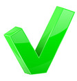 green tick web 3d shiny sign vector image