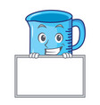 grinning with board measuring cup character vector image vector image
