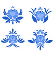 Gzhel painted set of elements Flowers and leaves vector image vector image