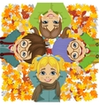 happy kids lying on colorful autumn leaves in park vector image vector image