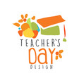 happy teachers day label concept with graduate cap vector image vector image