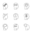 head silhouette with gear icons set outline style vector image