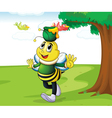 honey bee carrying honey vector image vector image