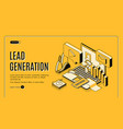 lead generation strategy isometric website vector image vector image