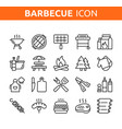 line icon set bbq party barbecue grill picnic vector image vector image