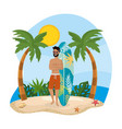 man wearing bathing shorts with surfboard and vector image vector image