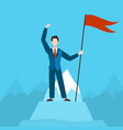 man with red flag on peak businessman vector image vector image